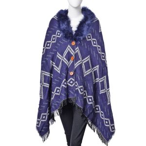 Navy and Off White 100% Acrylic Reversible Gypsy Pattern Poncho with Faux Fur Collar (72x27 in)