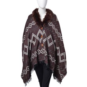 Chocolate and Off White 100% Acrylic Reversible Gypsy Pattern Poncho with Faux Fur Collar (72x27 in)