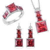 Simulated Red Diamond Stainless Steel Earrings, Ring (Size 11) and Pendant With Chain (20 in) TGW 25.00 cts.