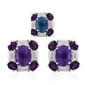 Mega Clearance Color Change Fluorite, Amethyst, White Topaz Platinum Over Sterling Silver Stud Earrings TGW 5.61 cts.