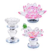 Set of 3 Pink Crystal Rotating Paper Weight or Desk Decor (4.5x2, 3x2, 4x2 in) with Perfect Fit Gift Box