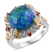 Black Ridge Quartz, Jalisco Cherry Fire Opal 14K YG and Platinum Over Sterling Silver Ring (Size 6.0) TGW 9.91 cts.