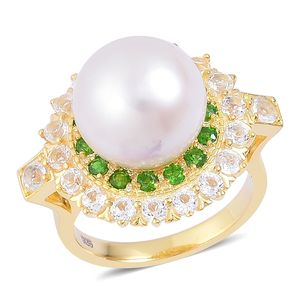 White South Sea Pearl (12-13 mm), Russian Diopside, White Topaz 14K YG Over Sterling Silver Ring (Size 10.0) TGW 2.37 cts.