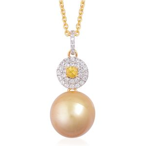 South Sea Golden Pearl (11-12 mm), Yellow Sapphire, White Topaz 14K YG Over Sterling Silver Pendant With Chain (18 in) TGW 0.41 cts.