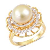 South Sea Golden Pearl (12-13 mm), White Zircon 14K YG Over Sterling Silver Daisy Flower Ring (Size 7.0) TGW 0.99 cts.