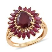 Niassa Ruby 14K YG Over Sterling Silver Ring (Size 7.0) TGW 5.27 cts.