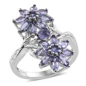 Tanzanite Platinum Over Sterling Silver Floral Elongated Ring (Size 5.0) TGW 2.95 cts.