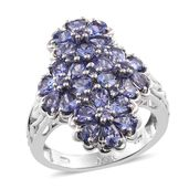 Tanzanite Platinum Over Sterling Silver Floral Cluster Ring (Size 5.0) TGW 3.72 cts.