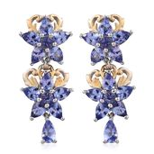 Tanzanite 14K YG and Platinum Over Sterling Silver Earrings TGW 3.64 cts.