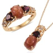 Sri Lankan Sunstone, Orissa Rhodolite Garnet, White Topaz 14K YG Over Sterling Silver Ring (Size 7) and Pendant With Chain (20 in) TGW 6.68 cts.