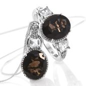 Brazilian Smoky Quartz, White Topaz Platinum Over Sterling Silver Ring (Size 10) and Pendant With Chain (20 in) TGW 10.56 cts.