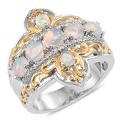 Ethiopian Welo Opal, Cambodian Zircon 14K YG and Platinum Over Sterling Silver Ring (Size 6.0) TGW 1.89 cts.