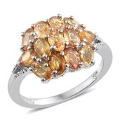 Yellow Sapphire Platinum Over Sterling Silver Ring (Size 6.0) TGW 3.62 cts.
