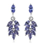 Premium AAA Tanzanite Platinum Over Sterling Silver Leaf Earrings TGW 1.66 cts.