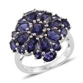 Catalina Iolite Platinum Over Sterling Silver Floral Ring (Size 8.0) TGW 4.65 cts.