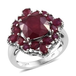 Niassa Ruby Platinum Over Sterling Silver Ring (Size 6.0) TGW 8.97 cts.