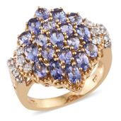 Tanzanite, Cambodian Zircon 14K YG Over Sterling Silver Cluster Ring (Size 9.0) TGW 4.94 cts.