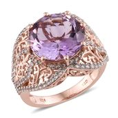 Rose De France Amethyst, Cambodian Zircon 14K RG Over Sterling Silver Ring (Size 7.0) TGW 10.21 cts.