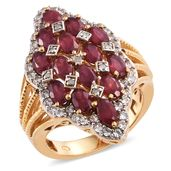 Nitin's Knockdown Deals Niassa Ruby, Cambodian Zircon, Diamond 14K YG Over Sterling Silver Ring (Size 7.0) TDiaWt 0.06 cts, TGW 6.19 cts.