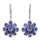 Tanzanite Platinum Over Sterling Silver Lever Back Earrings TGW 3.72 cts.