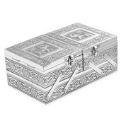Handcrafted 2-Tier Elephant Engraved Slide and Split Jewelry Box (8x5x3 in)