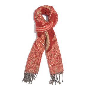 Reversible Red Hand Embroidered 100% Acrylic Fringe Scarf (78x28 in)
