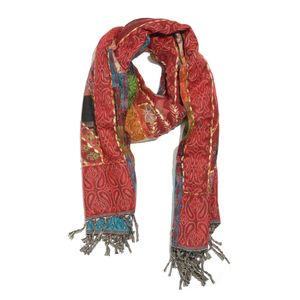Coral and Multi Color Hand Embroidered 100% Acrylic Reversible Fringe Scarf (78x28 in)