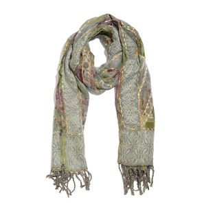 Gray and Multi Color Hand Embroidered 100% Acrylic Reversible Fringe Scarf (78x28 in)