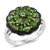 Russian Diopside, Thai Black Spinel Black Rhodium & Platinum Over Sterling Silver Ring (Size 5.0) TGW 5.02 cts.