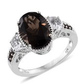 Brazilian Smoky Quartz, White Topaz Platinum Over Sterling Silver Ring (Size 6.0) TGW 7.12 cts.