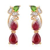 GP Niassa Ruby, Multi Gemstone 14K YG Over Sterling Silver Earrings TGW 3.35 cts.