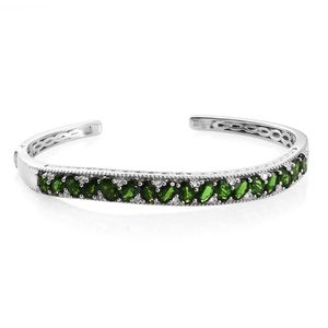 Russian Diopside, Cambodian Zircon Platinum Over Sterling Silver Cuff (7.25 in) TGW 8.30 cts.