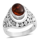 Bali Legacy Collection Baltic Amber Sterling Silver Floral Shank Ring (Size 8.0) TGW 0.47 cts.