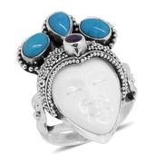 TLV Bali Goddess Collection Carved Bone, Multi Gemstone Sterling Silver Princess Ring (Size 5.0) TGW 14.60 cts.