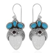 Bali Goddess Collection Carved Bone, Multi Gemstone Sterling Silver Princess Earrings TGW 14.60 cts.