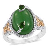 Burmese Green Jade, Russian Diopside, Cambodian Zircon 14K YG and Platinum Over Sterling Silver Ring (Size 6.0) TGW 12.32 cts.