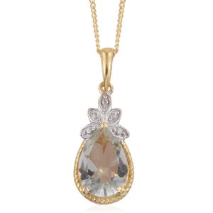 Montezuma Prasiolite 14K YG Over and Sterling Silver Pendant With ION Plated YG Stainless Steel Chain (20 in) TGW 1.70 cts.