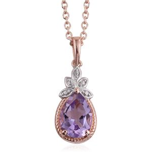 Rose De France Amethyst 14K RG Over and Sterling Silver Pendant With ION Plated RG Stainless Steel Chain (20 in) TGW 1.60 cts.
