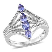Premium AAA Tanzanite Platinum Over Sterling Silver Ring (Size 7.0) TGW 1.22 cts.