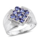 Premium AAA Tanzanite, Cambodian Zircon Platinum Over Sterling Silver Men's Ring (Size 14.0) TGW 2.38 cts.