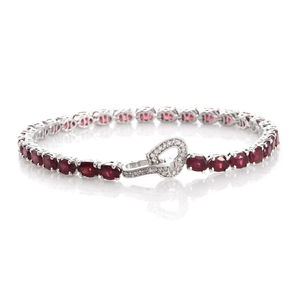 Niassa Ruby, Cambodian Zircon Platinum Over Sterling Silver Tennis Bracelet with Heart Latch Back Clasp (8.00 In) TGW 19.76 cts.