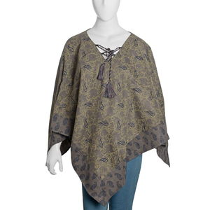 Stonewash, Navy and Yellow 100% Acrylic Lotus and Paisley Pattern V-Shape Poncho with Drawstring Tassel (One Size)