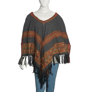 Black and Amber Color Santa Fe Style 100% Acrylic V-Shape Ruana or Button Poncho with Fringes