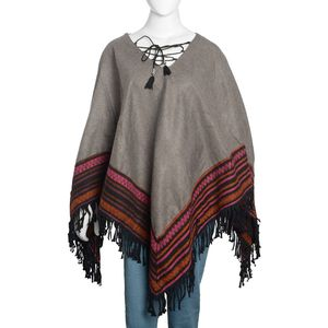 Santa Fe Style Gray 100% Acrylic V-Neck Poncho with Multi Color Stripe Embroidery Outline (One Size)
