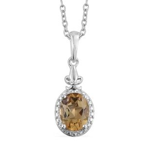 Brazilian Citrine Platinum Over Sterling Silver Pendant With Stainless Steel Chain (20 in) TGW 1.70 cts.