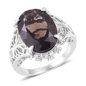 Brazilian Smoky Quartz, White Zircon Platinum Over Sterling Silver Ring (Size 6.0) TGW 11.25 cts.