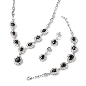 Simulated Black Spinel, White Austrian Crystal Silvertone Bracelet (7.50 in), Earrings and Necklace (20.00 In) TGW 84.00 cts.