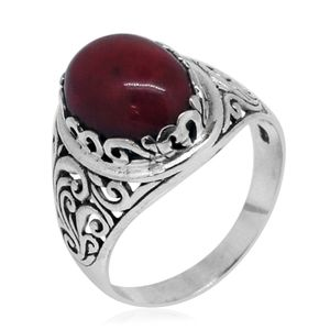 Bali Legacy Collection Sponge Coral Sterling Silver Ring (Size 10.0)