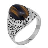 Bali Legacy Collection South African Tigers Eye Sterling Silver Ring (Size 5.0) TGW 5.92 cts.