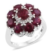 Niassa Ruby, Cambodian Zircon Platinum Over Sterling Silver Floral Ring (Size 6.0) TGW 7.46 cts.